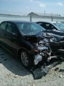 car wreck: broken leg